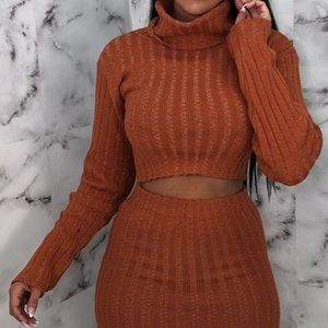 Femme Luxe Other - Rust Knitted Turtleneck Midi Co-ord